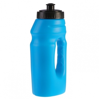 Бутылка для воды, 550 мл, велосипедная, с ручкой, пластик HDPE, синяя, 9.5х22 см