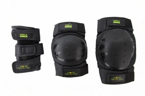 VINCA SPORT Комплект защиты (наколенник, налокотник, наладонник), черный, размер S, инд.уп. VP 33