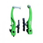 VINCA SPORT Тормоза с колодками (пара), VVB 15алюминиевые, 107мм, колодки 60мм, зеленый