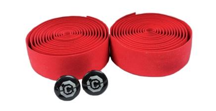 CLARK`S Лента на руль CHBT корковая+крепеж+заглушки на руль красная
