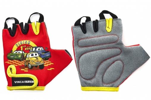 VINCA SPORT Перчатки велосипед. детские, VG 940 Cars, гелевые вставки, цвет красный, размер 5XXXS