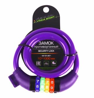 VINCA SPORT Замок велосипедный кодовый 10*1000мм, фиолетовый тросик, инд.уп. VS 101.427 violet