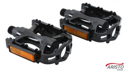 ARISTO CYCLO Педали  FP-960 алюмин, с светоотр, ось 9/16, размер 101х79х30 мм, 335 грамм, цвет черны