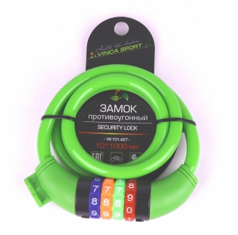 VINCA SPORT Замок велосипедный кодовый 10*1000мм, зеленый тросик, инд.уп. VS 101.427green