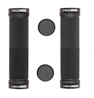 VINCA SPORT Грипсы, HG 119 с метал. зажимами, длина 129мм, чёрный