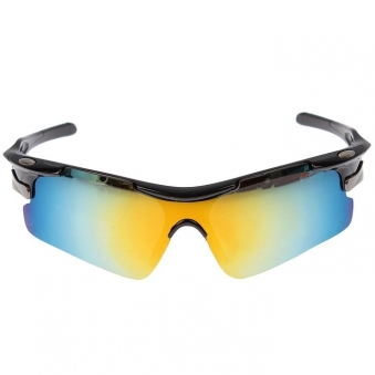 Очки спортивные, линзы под углом, оправа овальные металлические вставки, микс, 14х5.5 см